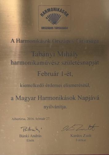Harmonikások Napja okirat